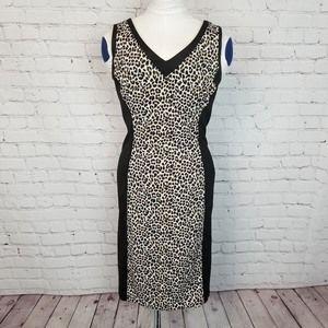 WHBM|Slim Scuba Leopard Colorblock Fitted Dress